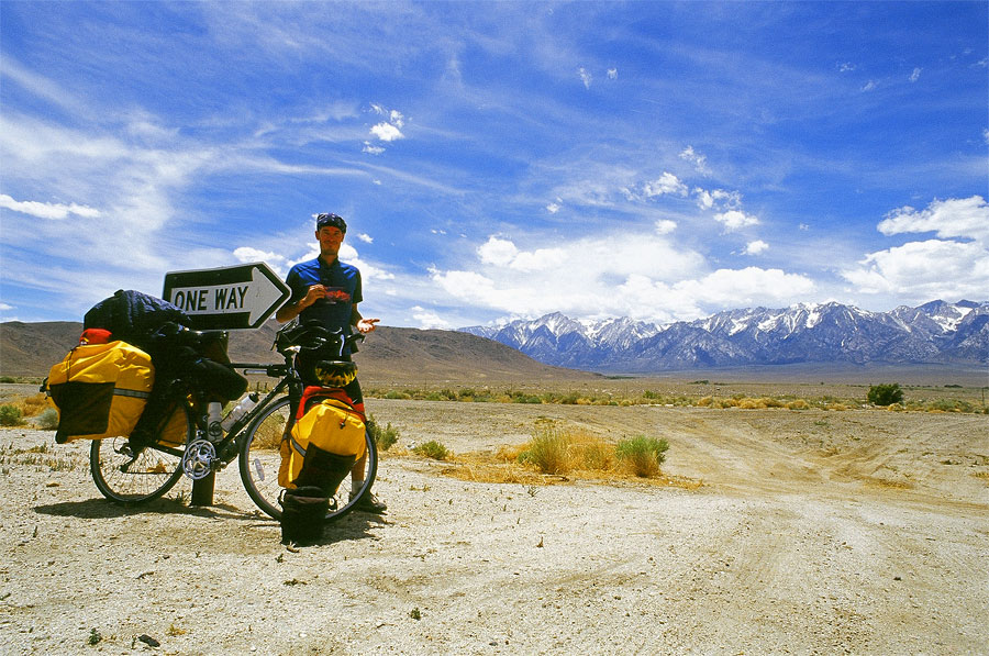 Me alongside highway 395 trying to locate the tallest mountain in the lower 48 states; Mt. Whitney (Day 11)