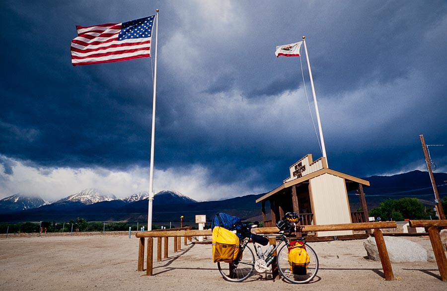 Entrance of Big Pine campground with my first storm brewing over the Sierra Nevada mountain range (Day 12)