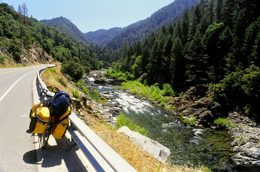 Riding along the Yuba River on Highway 49 towards Goodyears Bar (Day 33)