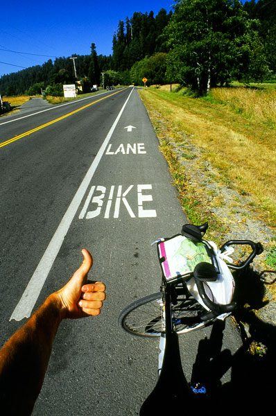 Bike lane near Crescent City, what more could a cyclist want? (Day 48)