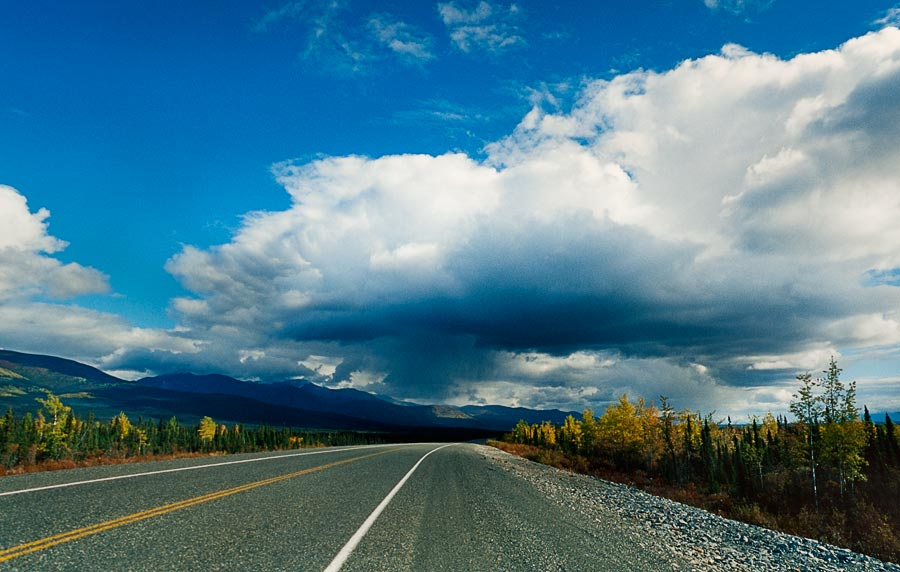 Storm clouds and blue skies, Alaskan Highway (Day 120)