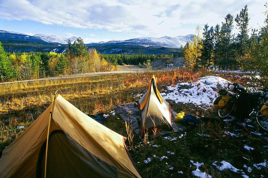 Our campsite just past the Continental Divide, Alaskan Highway (Day 126)