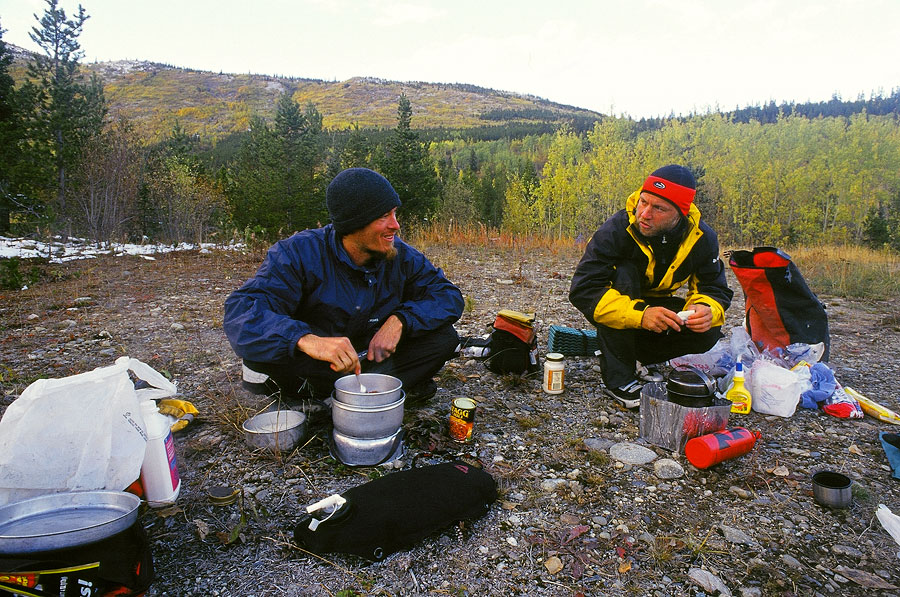 Norbert and I, dinner time, Alaskan Highway, Yukon (Day 126)