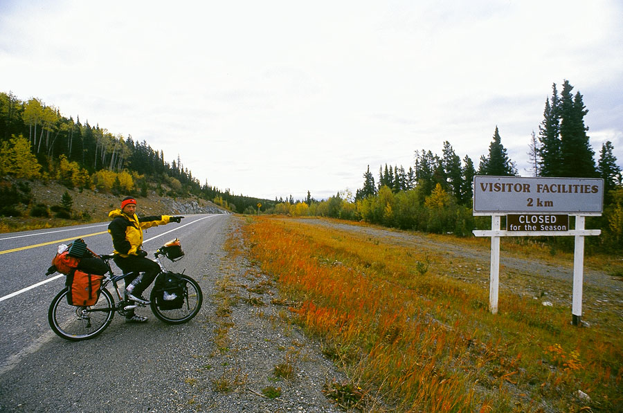 "Norbert with his ""Nothing's ever open"" look, Alaskan Highway (Day 126)"