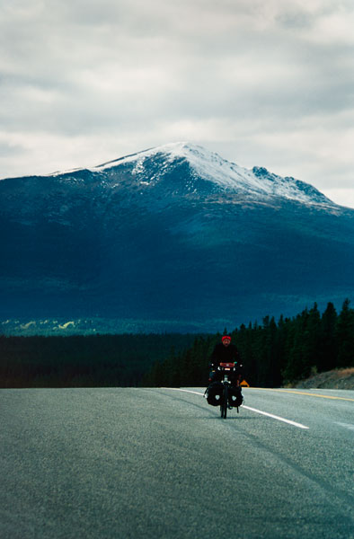 Norbert crossing the Continental Divide, Alaskan Highway, Yukon (Day 126)