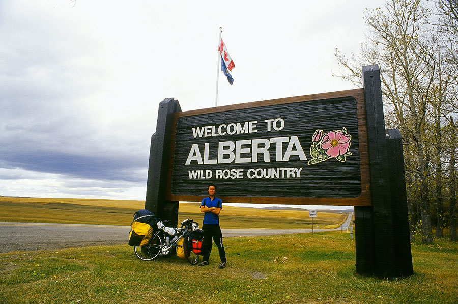 Stef and I at the Alberta border (Day 143)