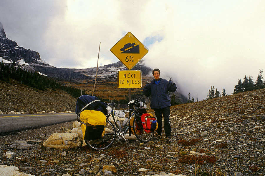 Stef and I and my favourite sign, the summit at Glacier National Park (Day 144)
