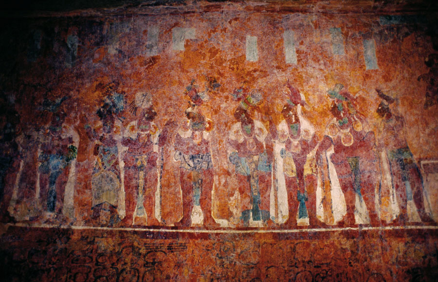 Wall murals at Bonampak Ruinas (Day 202)