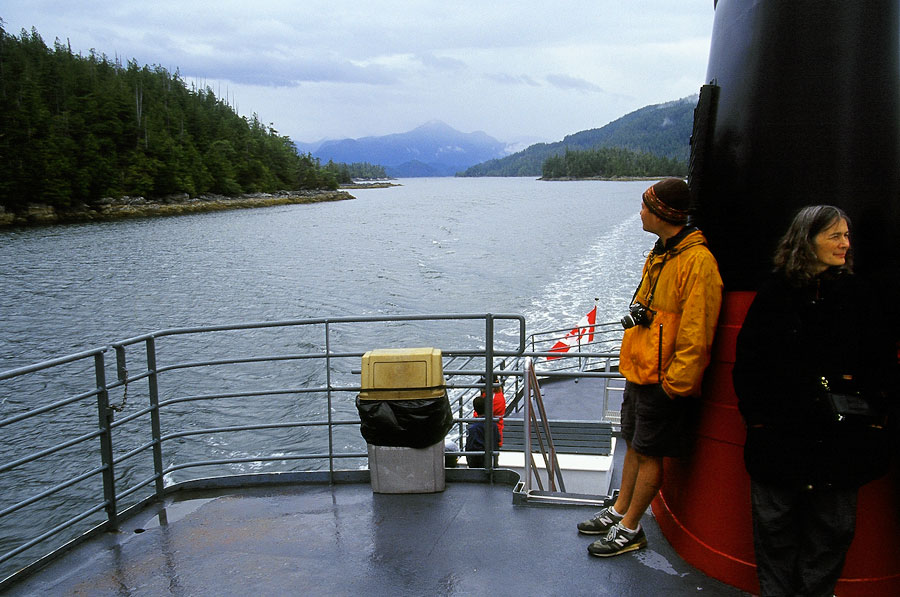 Trying to keep warm on the Port Alberni to Ucluelet ferry (Day 82)