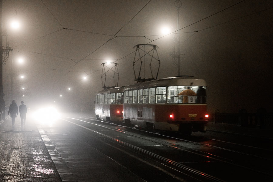 Foggy night tram
