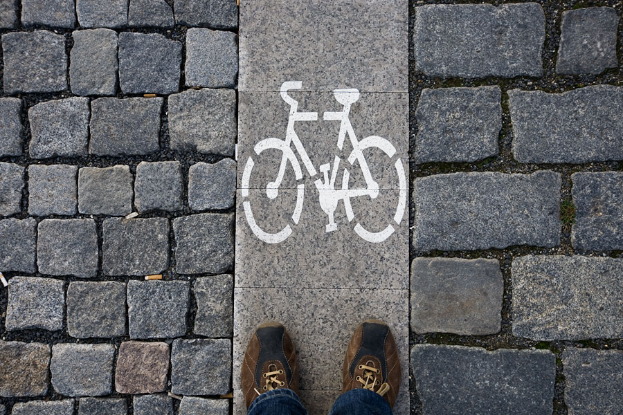 Prague bicycle path sign
