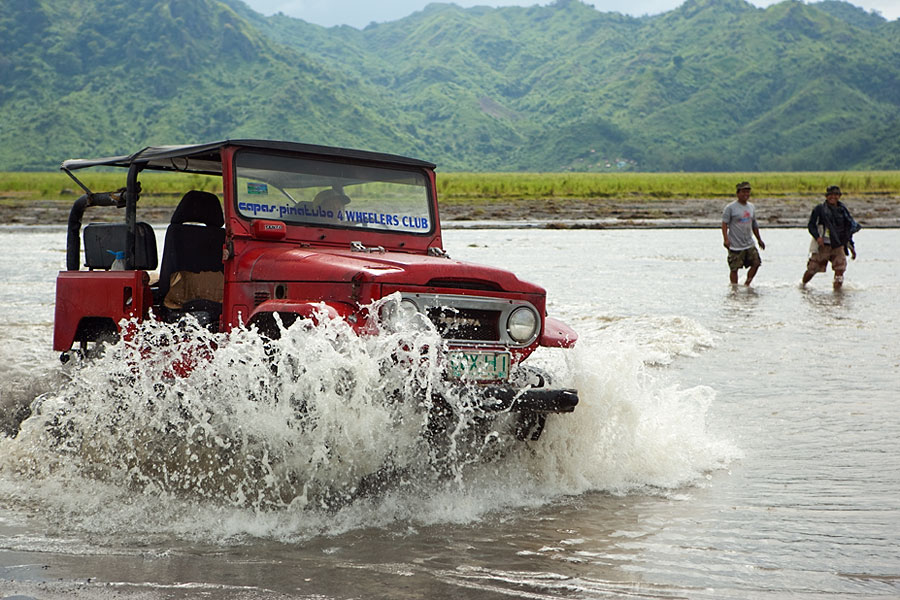Mount Pinatubo jeep tours finally getting out of the river