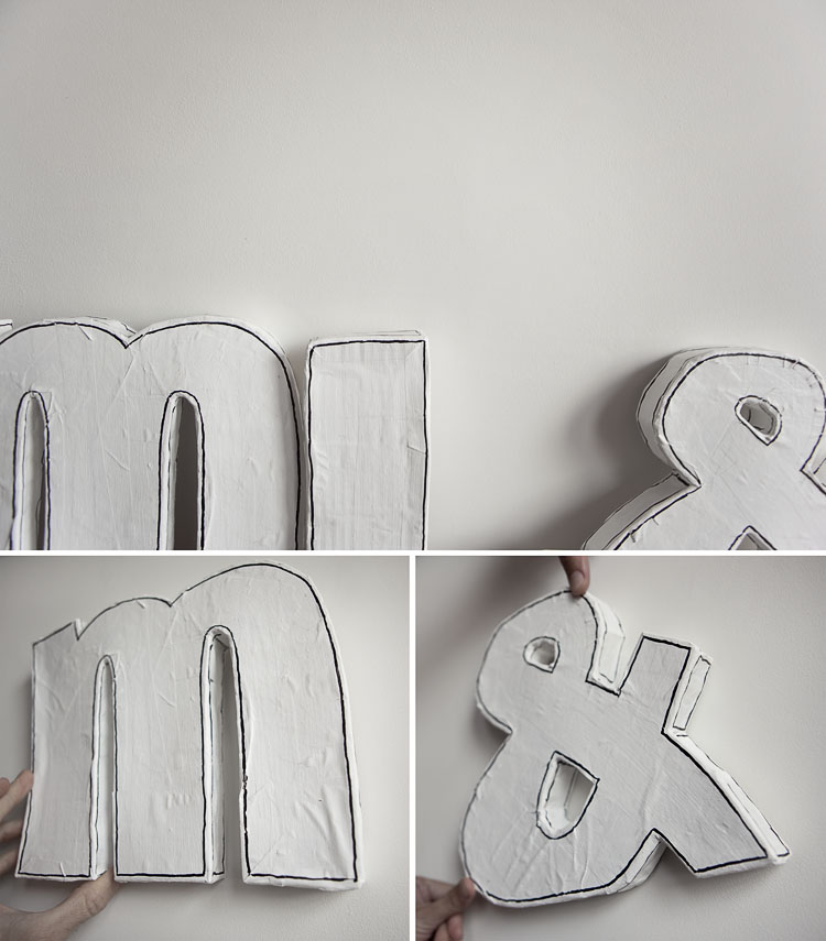 Outlining the DIY letters in marker pen