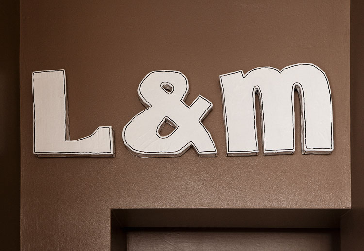 Our homemade DIY typography letters mounted on the wall