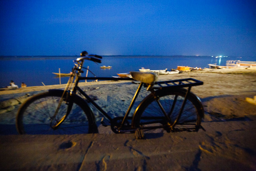 Varanassi bicycle at night