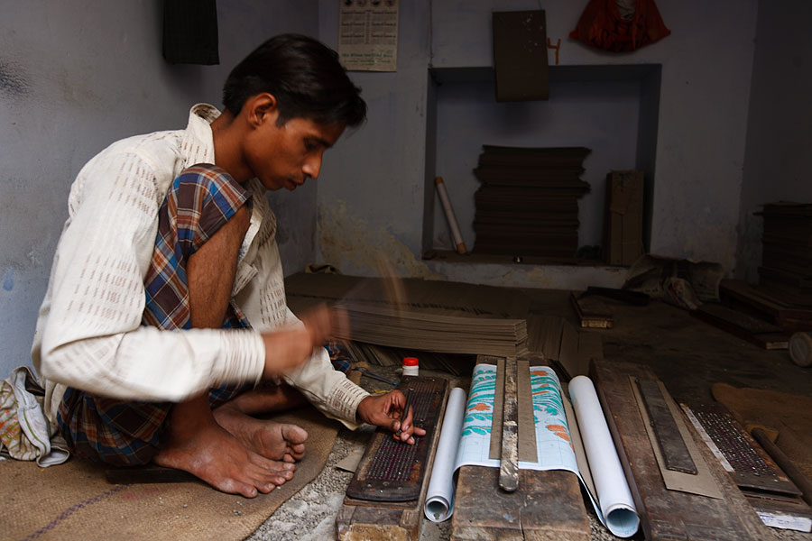 Varanassi silk factory - making design punchcards