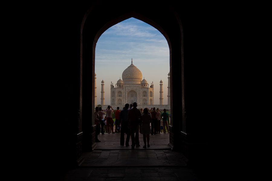 View of Taj Mahal through arch, Agra