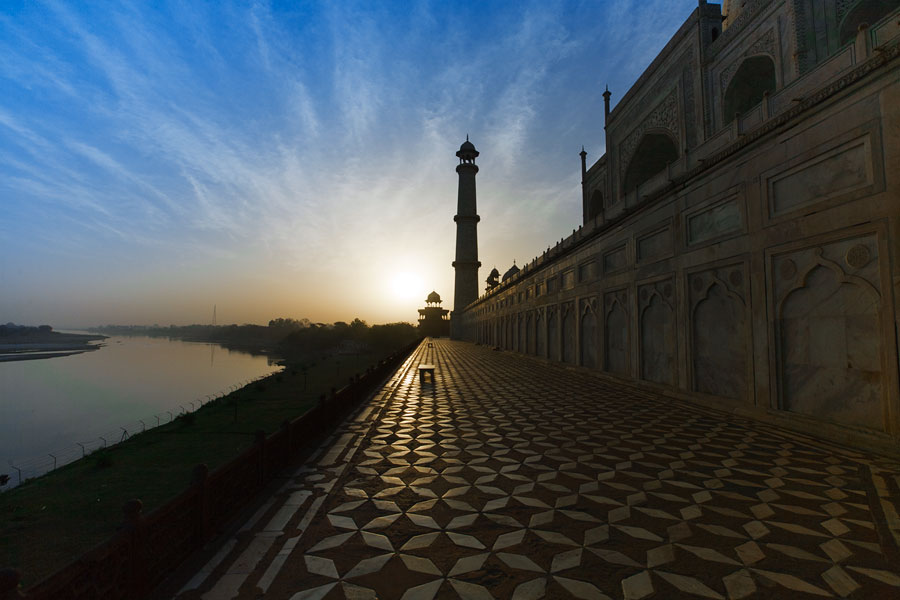 River Yamuna and the Taj Mahal at sunrise