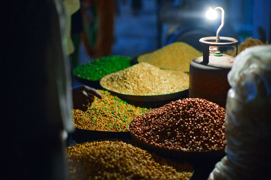 Rishikesh market at night, nuts and beans