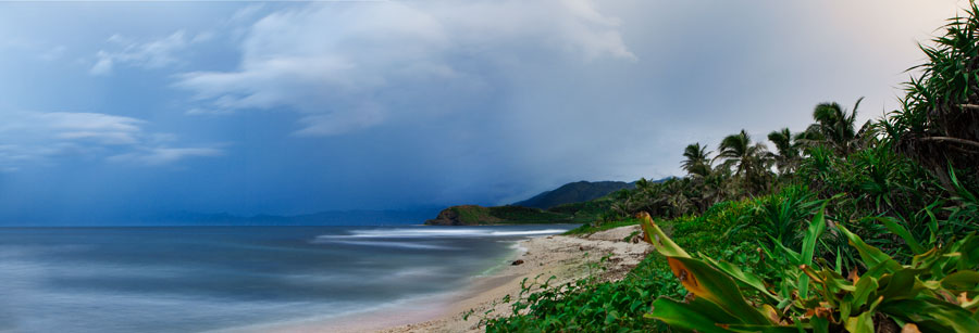 The view from the beach front of the Kapuluan Vista Resort
