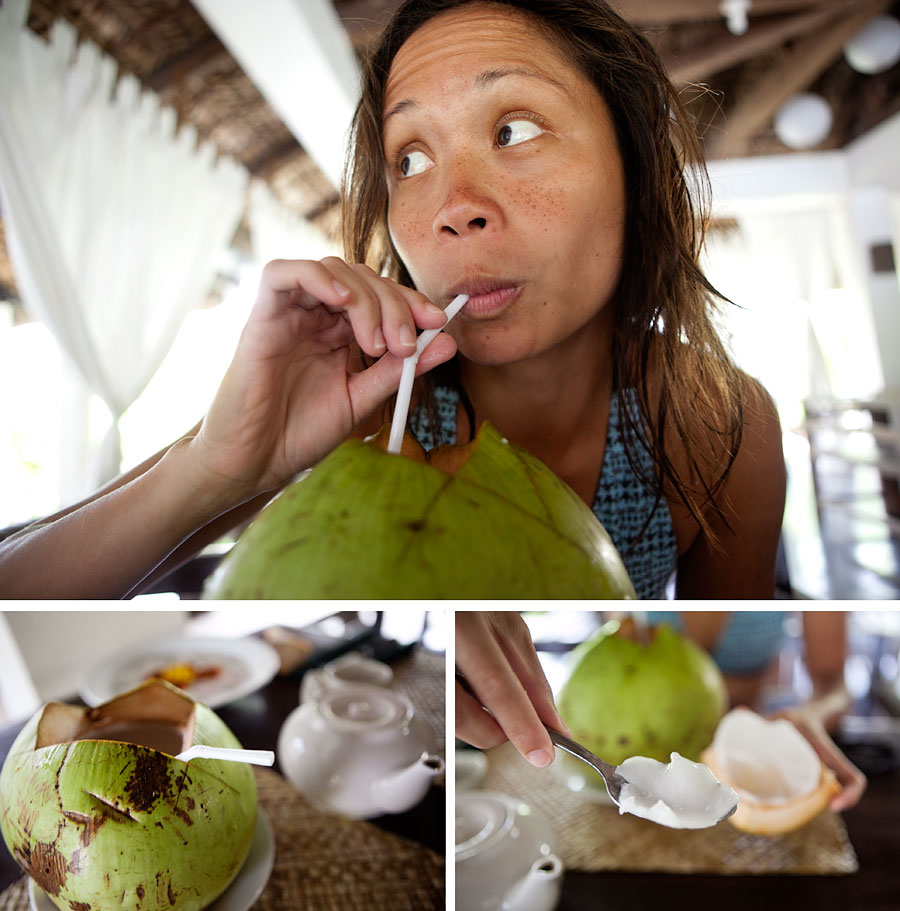 Monica and the coconut at Kapuluan Vista Resort
