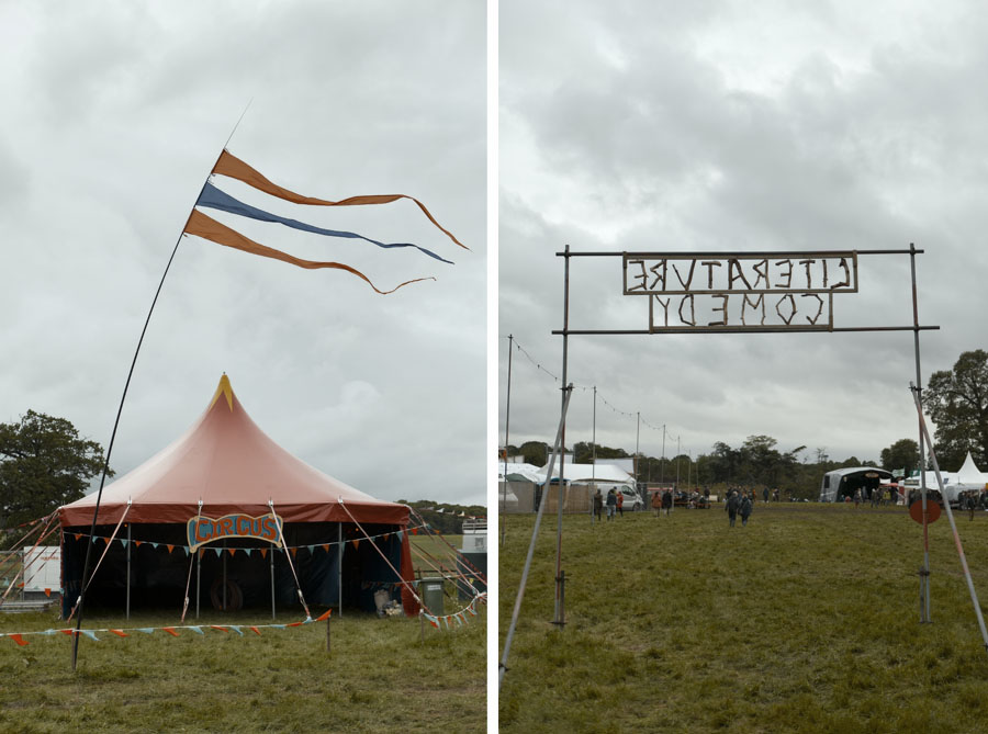 Circus, Literature and Comedy tents at the No Direction Home Festival