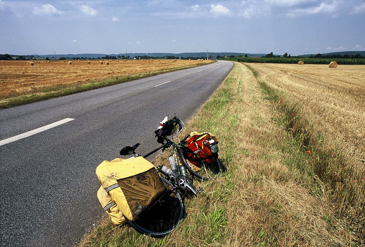 Fully loaded bicycle touring France