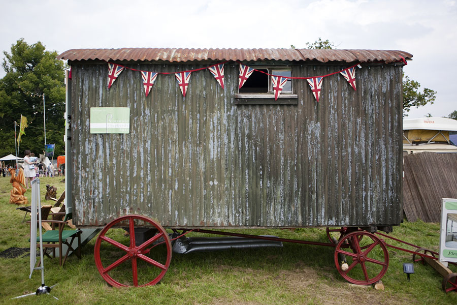 Corrugated iron caravan at Wilderness Festival